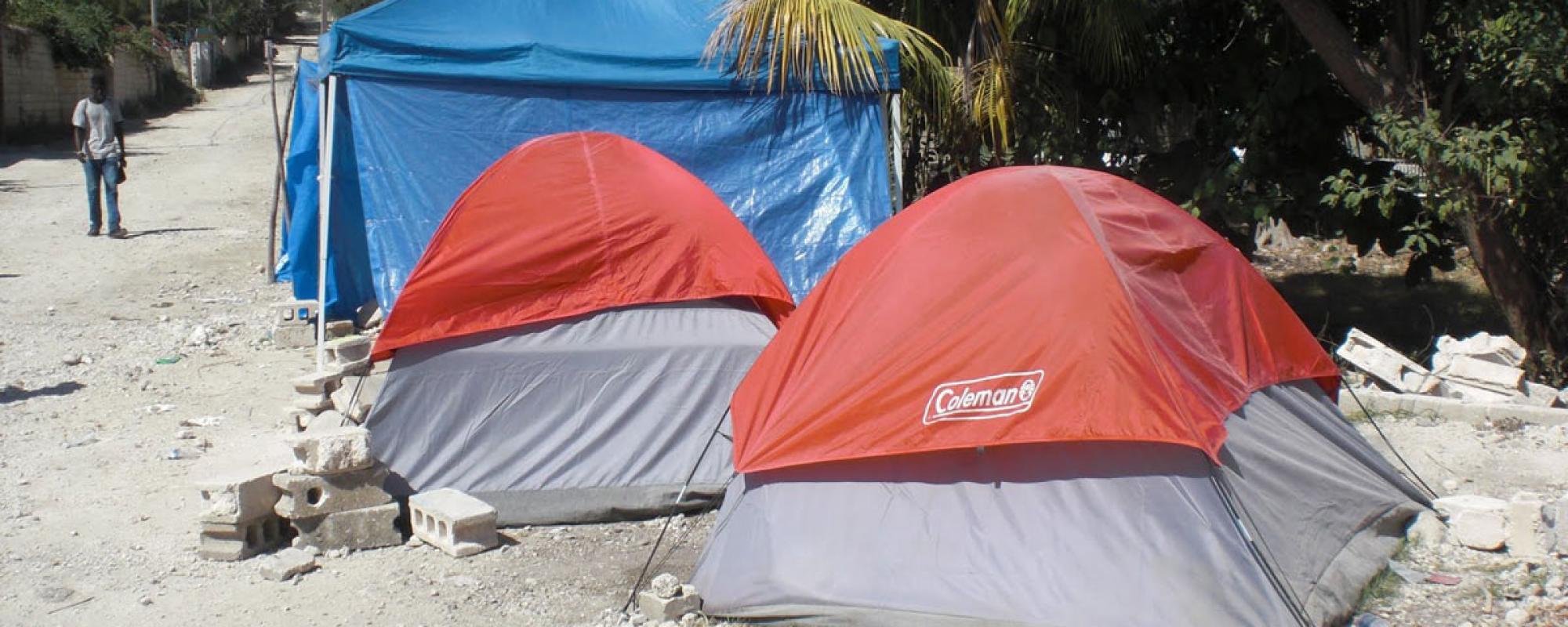 Haiti mission trip tents